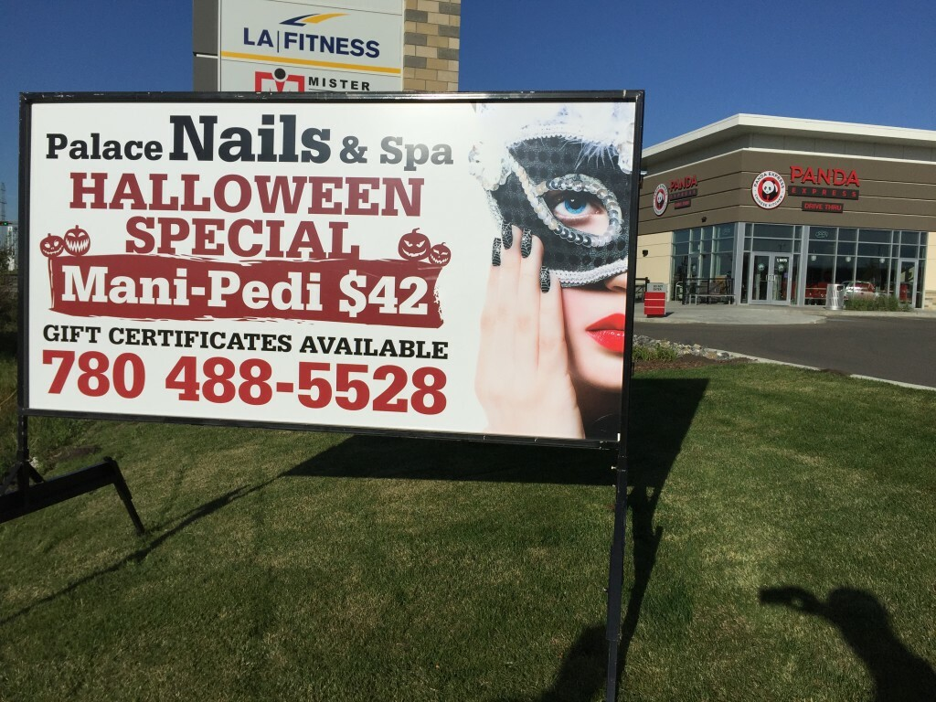 edmonton portable sign - palace nails and spa